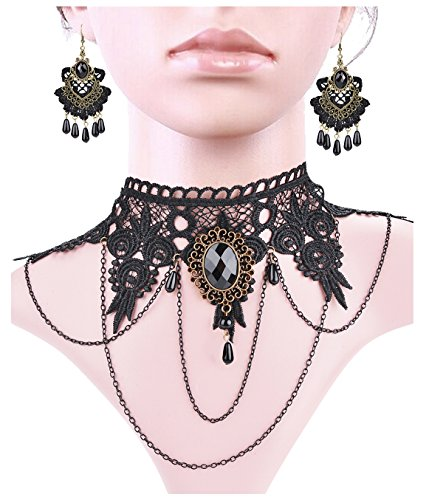 Womens Victorian Swimming Costume (Aniwon Punk Style Wedding Party Black Lace Choker Beads Tassels Chain Pendant Necklace Earring Set for Women)
