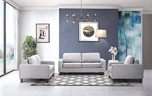 Alex Premium Fabric Sofa Bed Collection in Grey by ESF (Sofa With Chair & (Alex Sofa)