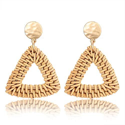 CEALXHENY Wicker Earrings Lightweight Woven Rattan Earrings Bohemia Handmade Straw Braided Drop Dangle Earrings (B Triangle) ()