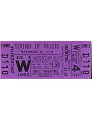 "Julie Andrews ""SOUND OF MUSIC"" Rodgers & Hammerstein 1965 Unused Movie Ticket"
