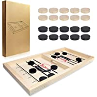 BABYCAT Fast Sling Puck Game Head-to-Head Hockey Game Set, Wooden Desktop Hockey Game for Kids and Adults, Parent-Child Interactive Game Set for Family Party (Small Size)