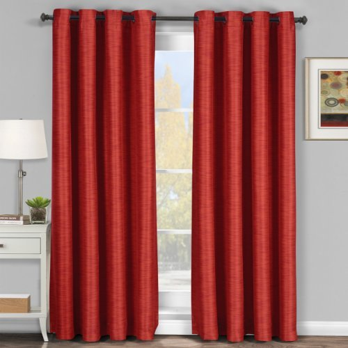 Galleria Comforter Set (Luxury Galleria Red Grommet Blackout Window Curtain Drape, Blackout Tonal, Stripe Pattern, 54x108 inches, by Royal Hotel)