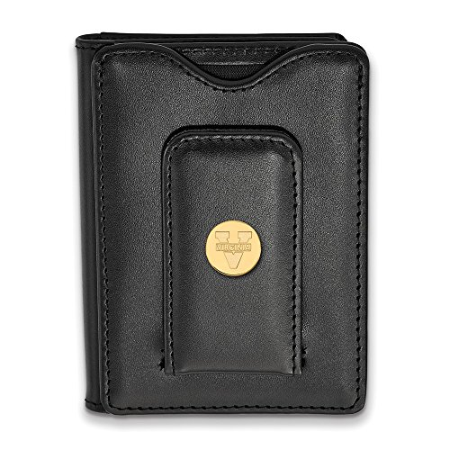(Solid 925 Sterling Silver with Gold-Toned University of Virginia Black Leather Wallet)
