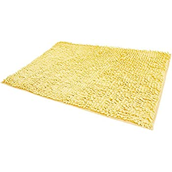 RoomDiary Non Slip Absorbent Bath Mat Bathroom Shower Rugs Carpet Machine Washable-Rice Yellow