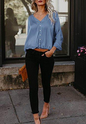 Femme Lache Tops ulein Fr Unie Manches Fox Shirts V Bouton Col Couleur Mode Casual Blouses Haut t avec Bleu Longues 1tqw6w