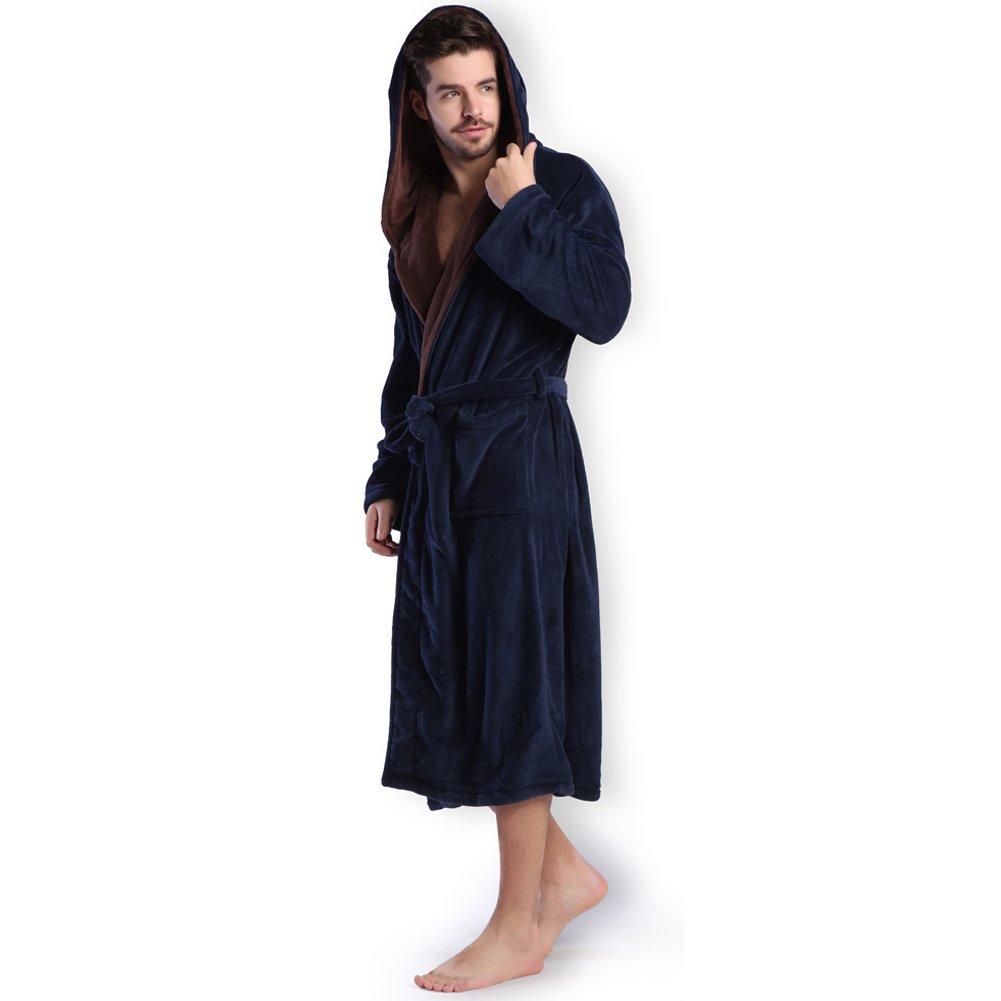 Hooded Herringbone Men's Navy Blue Soft Spa Bathrobe with Brown Kimono Shawl Collar