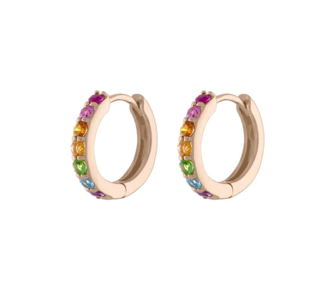 14K Gold Plated Everyday Rainbow Huggie Earrings