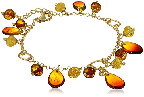Gold Plated Sterling Silver Rainbow Amber Charm (Amber Charms)