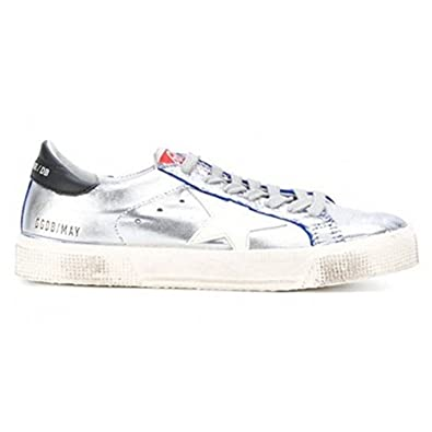817ec0e25a24 Golden Goose Deluxe Brand Women May Low Top Sneakers Blue Ette Silver  G31WS127F3 (EU 35