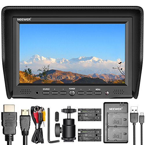 hes On-Camera Field Monitor Kit:800x480 High Resolution IPS Screen Monitor, Dual Battery Charger, 2 Packs Replacement Battery for Sony F550 ()