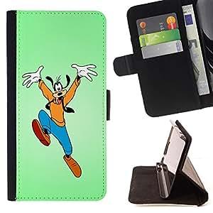 BullDog Case - FOR/HTC DESIRE 816 / - / Funny Jumping Goof /- Monedero de cuero de la PU Llevar cubierta de la caja con el ID Credit Card Slots Flip funda de cuer