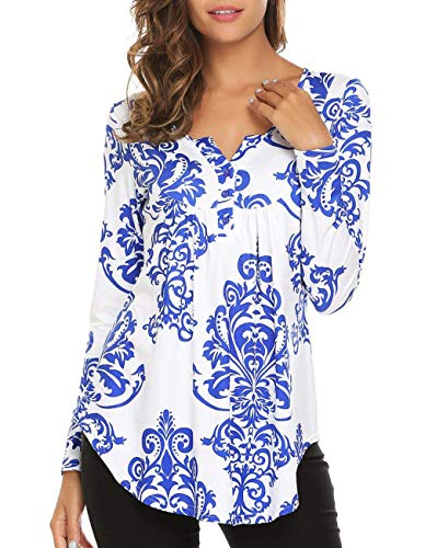 (Miskely Women's Paisley Printed Short Sleeve Blouses V Neck Pleated Ruffle Casual Tunic Tops Shirt (XXL, Long Sleeve Blue))