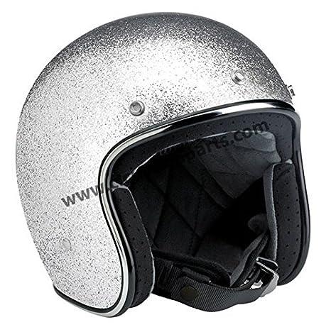 Casco Jet Biltwell Bonanza Helmet Brite Silver Metalflake Argento Glitterato Taglia S