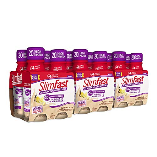 Slimfast Advanced Nutrition Vanilla Cream Shake - Ready To Drink Meal Replacement - 20g of Protein - 11 Fl. Oz. Bottle - 12Count