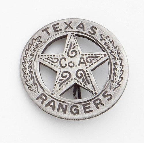 (SILVER TEXAS RANGER BADGE WITH PESO BACK)