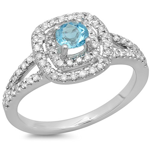 14K White Gold Blue Topaz And White Diamond Split Shank Engagement Halo Bridal Ring (Size - Topaz Split Shank