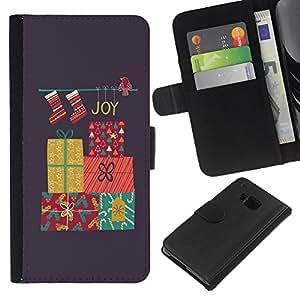 For HTC One M7 Case , Christmas Merry Holidays Winter Gift - la tarjeta de Crédito Slots PU Funda de cuero Monedero caso cubierta de piel