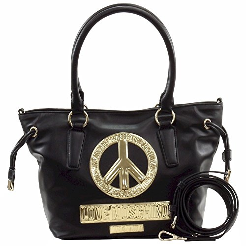 Love Moschino Women's Peace Black Leather Bucket Tote Handbag by Love Moschino (Image #1)