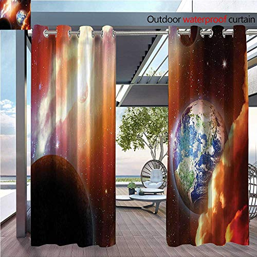 DESPKON Shading Polyester Material Cloud Nebula Stars in Solar System e with PlanEarth Pluto and Neptune for Outdoor Room Decoration W72 x L108 INCH