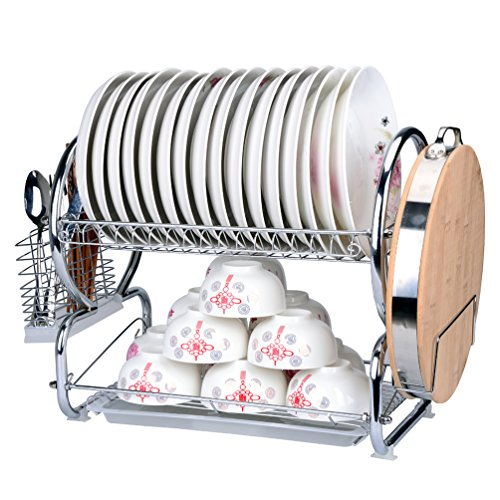 (QIN.J.FANG 2 Tier Stainless Steel Dish Rack Turret Cutting Board,B)