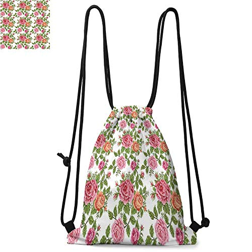 Roses Made of polyester fabric Embroidery Style Graphic Flowers with Green Leaves Old Fashioned Romantic Waterproof drawstring backpack W17.3 x L13.4 Inch Pink Green -