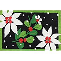 Jellybean Indoor Outdoor Area Accent Rug Poinsettias & Mistletoe