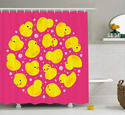 Pink Ducky Bath - Ambesonne Rubber Duck Shower Curtain Set, Fun Baby Duckies Circle Artsy Pattern Kids Bath Toys Bubbles Hot Pink Animal Print, Fabric Bathroom Decor with Hooks, 70 Inches, Pink Yellow