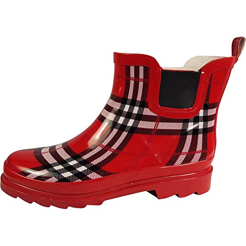 Boots Ladies Plaid Red Spring Waterproof Ankle NORTY Winter Rain Womens Garden Boot HqAwnBtR