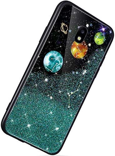Herbests Kompatibel mit Samsung Galaxy J5 2017 Hülle TPU Schutzhülle Glitzer Sterne Universum Planet Muster Ultra Dünn Handyhülle TPU Bumper Weiche Silikon Rückseite Stoßfest Hülle,Grün