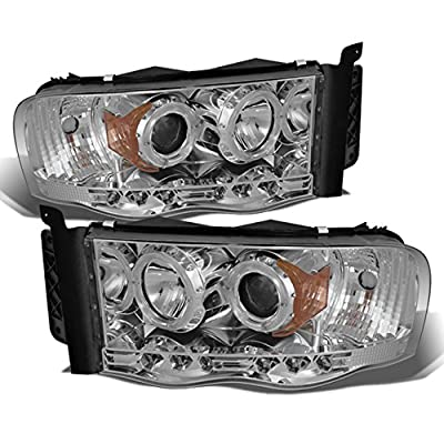 Dodge Ram Pickup Truck Chrome Clear Dual Halo Ring LED Projector Replacement Headlights Left + Right