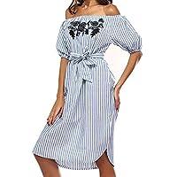 Women's Dress, 2018 New Women Off Shoulder Dress Short Sleeve Slash Neck Striped Casual Dress by E-Scenery