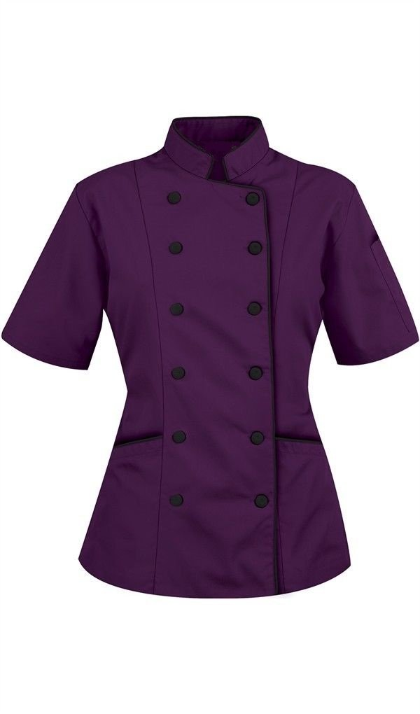 Chef Attires Short Sleeves Women's Ladies Chef's Coat Jackets by L (to Fit Bust 38-39), Violet