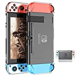 Dockable Switch Case for Nintendo,ZIIDII Nintendo Switch Games Protective Hard Carrying Clear Cover Case for Nintendo Switch Console Joy Con Controller
