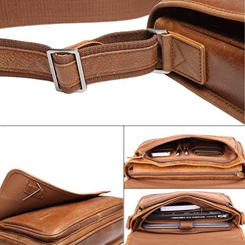 Banuce Leder Erlesene Kuriertasche Laptoptasche Schulter Tasche