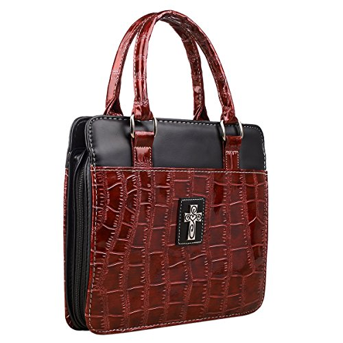 Croc-Embossed Patent Purse-Style Bible / Book Cover w/Cross (Large, Burgundy) ()