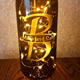 Custom Etched Split Monogram Wine Bottle With Twinkle Fairy Lights Powered from Cork, Anniversary Wine Decor With White Lights, Wedding Gift