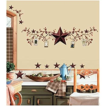 amazon com stars and berries wall decals country kitchen stickers