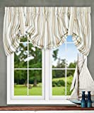 Ellis Curtain Mason Multi Colored Stripe (Tie-Up Valance, 60 x 22'', Spa)
