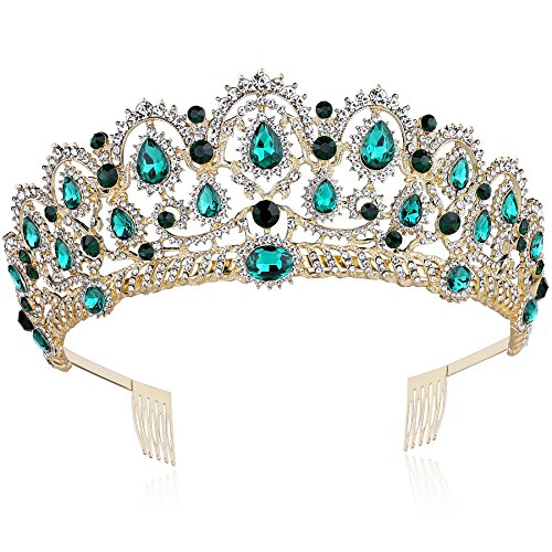 BABEYOND Crystal Queen Crown Birthday Tiara Prom Pageant Quinceanera Crown Tiara Rhinestone Wedding Princess Tiara Headband with Comb Pin (Emerald-Green) ()