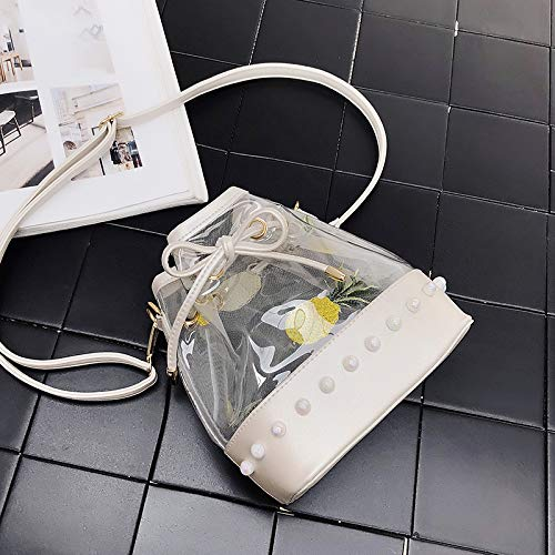 Bag Bucket White Messenger Transparent Small The Pearls Jelly Saoga Bag Girl Cute Lace q4n6xHT