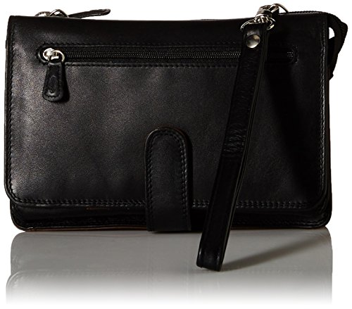 Derek Alexander Deluxe Clutch with Detachable Strap Messenger Bag, Black/Brandy (Strap Brandy)