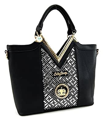 Betty Boop Premium Top Handle Structured Handbag, Mirror Stones, Large (Black)