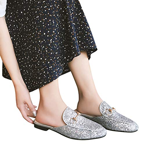 - Summer Ladies' Comfortable Sandals,Women's Sequined Slippers Casual Shoes Lazy Shoes Wild Single Shoes Ladies Shoes (Sliver, 5.5)