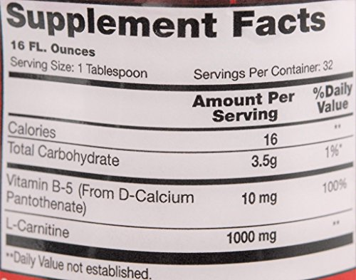 Vegetarian Liquid L Carnitine Plus B 5 | 1000mg Plus 10mg B5 | Boosts Stamina and Endurance | Natural Orange Flavor | 32 Servings
