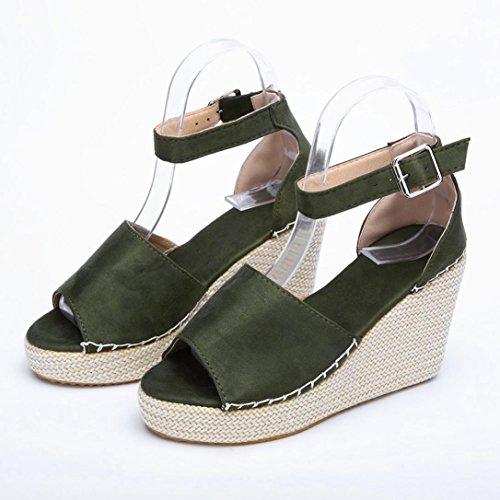 Plana de Costura Sandalias Polaca Playa Plataforma Verano Logobeing Zapatos Sandalias Zapatos de de Cerrojo Toe Polaca de Verde Peep Chancletas y Y8Cnwqp