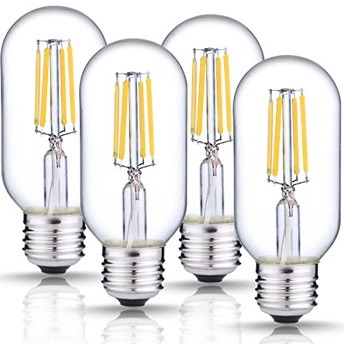 Traditional Style Fire Table (DORESshop Edison LED Bulb, T45 Vintage Filament Light Bulb Dimmable, 4W (40W Equivalent), 4000K Daylight White, E26 Medium Base Lamp, 400LM, Antique Style Light Bulbs for Light Fixture, 4-Pack)
