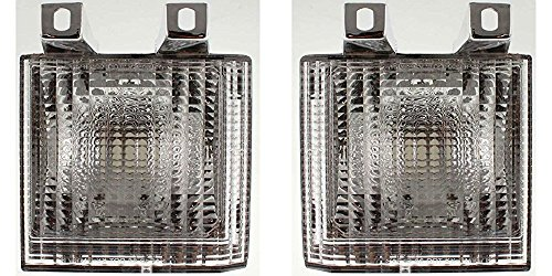 DAT AUTO PARTS Parking LAMP Assembly Clear Lens with Dual Headlights Set of Two Replacement for 83-88 GMC Chevrolet Suburban Left Driver and Right Passenger Side Pair GM2520110 GM2521110 ()