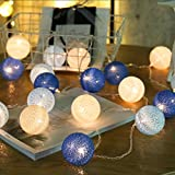 ZONYEO 20 LED Lantern Handmade Tone Cotton Balls String Lights Home Décor Product of Thailand for Kids Living Room Baby Shower Party College Dorm Teens – Blue