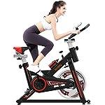 51dTO76EyXL. SS150 Cyclette Spin Bike Sedile Regolabile, Sensori di Pulsazioni E Monitor LCD Max 100 kg per Allenamento Fitness