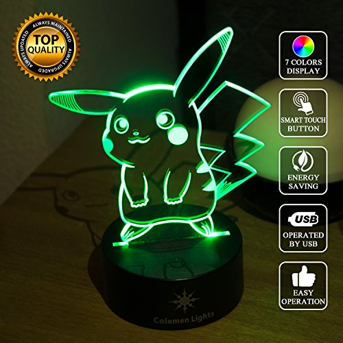 3D Night Light, Pokemon Pikachu, Colemen Lights 7 Color Changing LED table Lamp, Perfect for Kids and Pokemon (Elegance Night Light)